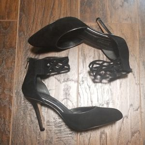 WHBM black suade heels size 7 ankle cuff